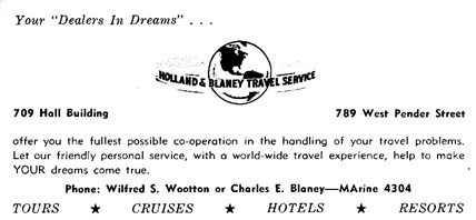 Wilfred S. Wootton, advertisement, Holland and Blaney Travel Service, Boston Pops Orchestra concert programs, 1956 Trip, Season 71; February 22, 1956, page 7; https://archive.org/stream/bostonpopsorche1956bost_0#page/n256/mode/1up.