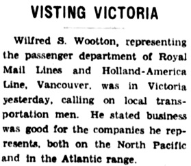 """Visiting Victoria,"" Victoria Colonist, February 3, 1938, page 6, column 1; http://archive.org/stream/dailycolonist0238uvic_1#page/n5/mode/1up."