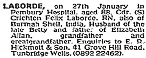 Crichton Felix Laborde, death notice, The Times (London, England), issue 61442, January 28, 1983; page 26, column 1.