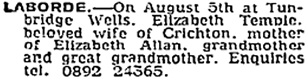 Elizabeth Temple Laborde, death notice, The Times (London, England), Issue 61000, August 7, 1981; page 22, column 1.
