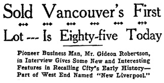 """Sold Vancouver's First Lot—Is Eighty-five Today,"" Vancouver Province, September 17, 1919, page 4."