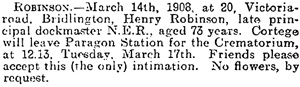 Henry Robinson, death notice, Daily Mail (Hull, England), issue 3986, March 16, 1908, page 5.