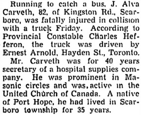 """J. Alva Carveth, obituary, in """"Hurt Crossing Road, Stanley Hannah Dies,"""" Toronto Star, October 13, 1945, page 5, column 5; https://news.google.com/newspapers?id=qfE6AAAAIBAJ&sjid=fyoMAAAAIBAJ&pg=2526%2C19914382."""