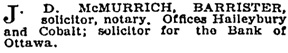 J.D. McMurrich, classified advertisement, Toronto Globe, May 24, 1906, page 2.