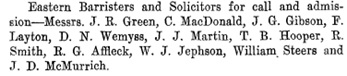 """Result of Recent Law Examination in British Columbia,"" 33 Canadian Law Times, volume 33, (1913), page 120."