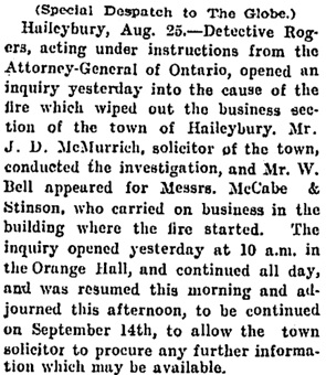 """The Haileybury Fire: M'Cabe & Stinson's Financial Position,"" Toronto Globe, August 27, 1906, page 8."