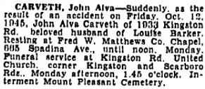 John Alva Carveth, Toronto Star, October 13, 1945, page 25; https://news.google.com/newspapers?id=qfE6AAAAIBAJ&sjid=fyoMAAAAIBAJ&pg=1117%2C19884091.