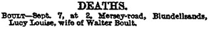 Lucy Louise Boult, death notice, Liverpool Mercury (Liverpool, England), issue 10813, September 8, 1882, page 7.