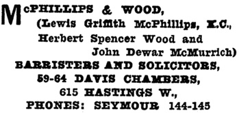 Henderson's Greater Vancouver City Directory, 1913, Part 2, page 1068.