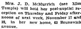 Chit Chat, Toronto Globe, November 10, 1898, page 8.