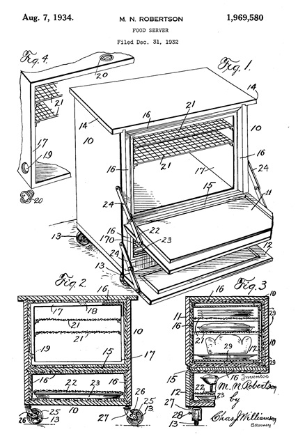 Food server, US 1969580 A; http://www.google.mk/patents/US1969580; Publication number: US1969580 A; Publication type: Grant; Publication date: 7 Aug 1934; Filing date: 31 Dec 1932; Priority date: 31 Dec 1932: Inventors: Nixon Robertson Mabel; Original Assignee: Nixon Robertson Mabel.