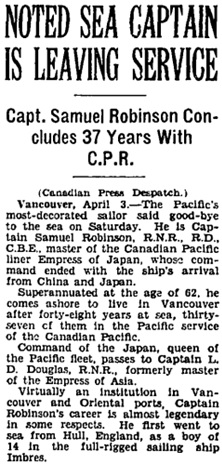 """Noted Sea Captain is Leaving Service,"" Toronto Globe, April 4, 1932, page 2, column 2."