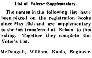 Kaslo Morning News, June 26, 1898, page 6; Voters' List (seleced portion); https://open.library.ubc.ca/collections/bcnewspapers/bcnews/items/1.0066029#p5z0r0f: