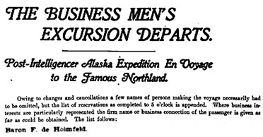 """""""The Business Men's Excursion Departs,"""" Seattle Post-Intelligencer, August 18, 1899, page 1, column 4; http://chroniclingamerica.loc.gov/lccn/sn83045604/1899-08-18/ed-1/seq-1.pdf."""