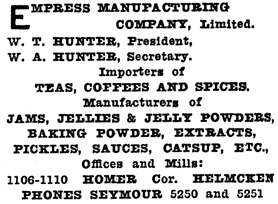 Empress Manufacturing Company, Henderson's Greater Vancouver City Directory, 1913, Part 1, page 798.
