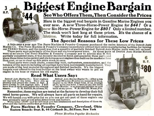 Ferro Machine and Foundry Company, advertisement, Popular Mechanics, June 1908, page 148; https://books.google.ca/books?id=B94DAAAAMBAJ&pg=RA1-PA148&lpg=RA1-PA148&dq=Detroit+Auto-Marine#v=onepage&q=Detroit%20Auto-Marine&f=false.