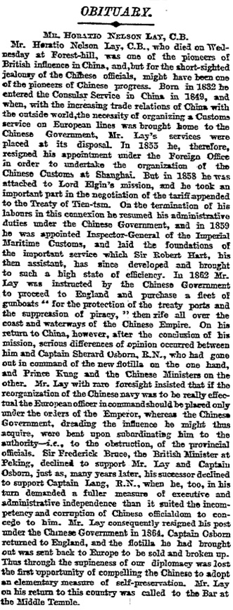 Horatio Nelson Lay, obituary, The Times (London, England), Friday, May 06, 1898; page 9.