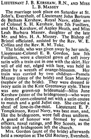 John Bertram de Betham Kershaw and Leah Barbara Massey, marriage notice, The Times (London, England), Issue 47746, July 26, 1937, page 15.