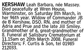 Leah Barbara Kershaw, death notice, The Times (London, England), Issue 69274, March 18, 2008; page 76.