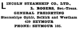 Henderson's Greater Vancouver Directory, 1912, Part 2, page 940.