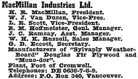 British Columbia and Yukon Directory, 1946, page 967.