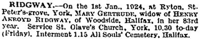 Mary Gertrude Ridgway, death notice, The Times (London, England), Issue 43540, January 4, 1924; page 1.