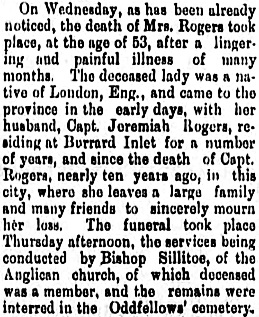 Mrs. Rogers, obituary, Daily British Columbian, New Westminster, British Columbia, December 21, 1889, page 4, column 2; https://open.library.ubc.ca/collections/bcnewspapers/dbc/items/1.0347064#p3z-1r0f:
