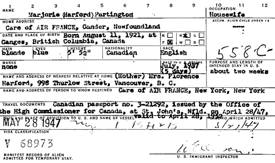 """New York, New York Passenger and Crew Lists, 1909, 1925-1957,"" database with images, FamilySearch (https://familysearch.org/ark:/61903/1:1:24PV-TP3 : 3 October 2015), Marjorie Harford Partington, 1947; citing Immigration, New York City, New York, United States, NARA microfilm publication T715 (Washington, D.C.: National Archives and Records Administration, n.d.)."