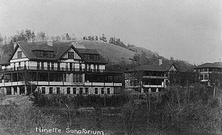 Ninette Sanatorium, Ninette, Manitoba; postcard [postmarked March 1, 1913]; Peel's Prairie Provinces, Postcard 746; original photograph by G. Overend; http://peel.library.ualberta.ca/postcards/PC000746.html