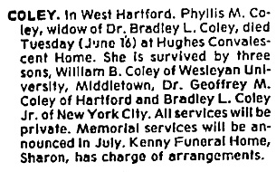 Hartford Courant, Hartford, Connecticut; June 19, 1981, page 99, column 1.
