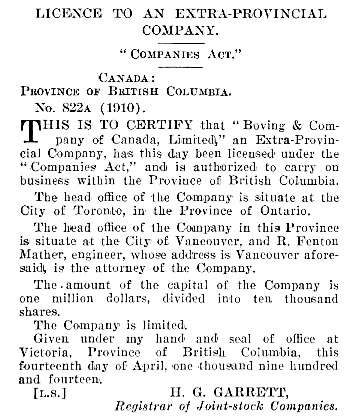 R. Fenton Mather, attorney for Boving and Company, extra-provincial company; British Columbia Gazette, May 7, 1914, page 2668 [objects of company omitted]; https://archive.org/stream/governmentgazett54nogove_g0f4#page/2668/mode/1up.