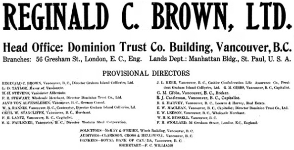 Reginald C. Brown Limited, notice of formation, The Western Call, April 8, 1910, page 7, https://open.library.ubc.ca/media/download/pdf/xwestcall/1.0188138/0.