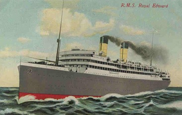 R.M.S. Royal Edward, probably between 1910 and 1915; https://en.wikipedia.org/wiki/HMT_Royal_Edward#/media/File:RMS_Royal_Edward.jpg.