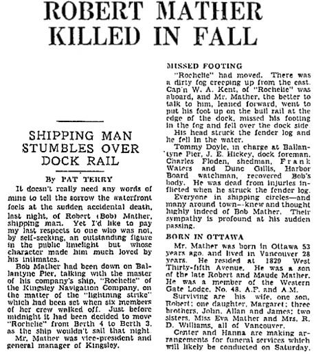 """Robert Mather Killed in Fall,"" Vancouver Sun, October 22, 1936, page 12; https://news.google.com/newspapers?id=sfRlAAAAIBAJ&sjid=FokNAAAAIBAJ&pg=1159%2C2622735."