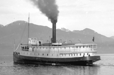 "S.S. ""City of Nanaimo,"" about 1895, Vancouver City Archives, SGN 1452; http://searcharchives.vancouver.ca/s-s-city-of-nanaimo-passing-through-burrard-inlet."