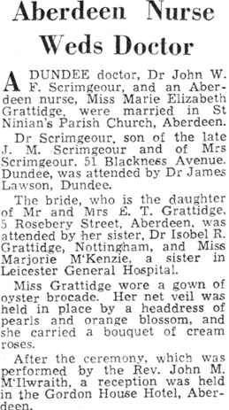 Aberdeen Nurse Weds Doctor, Press and Journal (Aberdeen, Scotland), March 22, 1950, page 6.