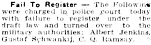 The Winnipeg Tribune, January 14, 1918, page 5, column 6.