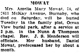 Amelia Mary Mowat, obituary, Vancouver Daily World, October 29, 1923, page 9, column 7.