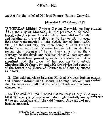 An Act for the relief of Mildred Frances Batten Gzowski, Statutes of Canada, 1948, volume 2, chapter 198, page 109; https://archive.org/stream/actsofparl1948v02cana#page/109/mode/1up.