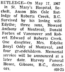 The Peninsula Times (Sunshine Coast, British Columbia), May 24, 1967, page 2, column 1; https://open.library.ubc.ca/collections/bcnewspapers/xpentimes/items/1.0185392#p1z-2r0f; Coast News (Sunshine Coast, British Columbia), May 25, 1967, page 4, column 1; https://open.library.ubc.ca/collections/bcnewspapers/xcoastnews/items/1.0175286#p3z-3r0f:.