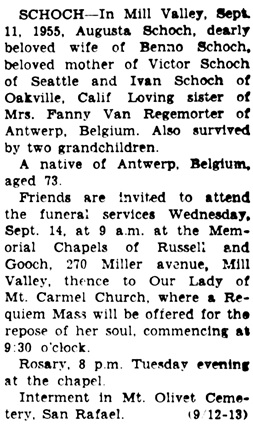 Daily Independent Journal, (San Rafael, California), September 13, 1955, page 7, column 8.