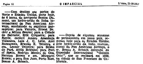 O Imparcial, Rio de Janeiro, Brazil, October 21, 1937, page 12, column 3; http://memoria.bn.br/docreader/DocReader.aspx?bib=107670_03&PagFis=10105&Pesq=