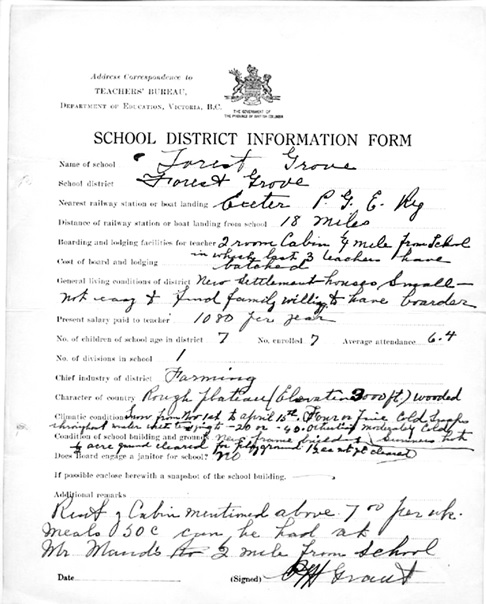 British Columbia Archives; Item GR-0461.888; School District Information Form: Forest Grove; Teacher's Name Grant, P.M.; School District Forest Grove; Nearest Station or landing: Exeter; 1928; File location: Box 2, File 4, Item n/a.; http://search.bcarchives.gov.bc.ca/nearest-station-or-landing-exeter-3.