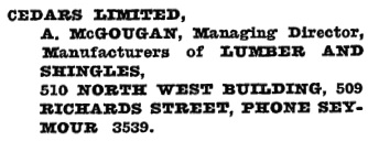 Henderson's Vancouver Directory, 1920, page 477.
