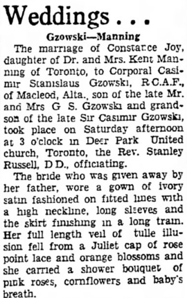 The Lethbridge Herald, September 20, 1941, page 14, columns 2-3.