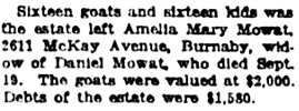 """""""Five Wills are Given Probate,"""" Vancouver Daily World, October 6, 1923, page 3, column 5."""