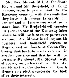 Moose Jaw Herald Times, April 9, 1897, page 8, column 3; http://peel.library.ualberta.ca/newspapers/MJH/1897/04/09/8/Ar00804.html.