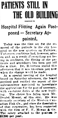 """Patients Still in the Old Building,"" Vancouver Daily World, January 2, 1906, page 8, column 4."