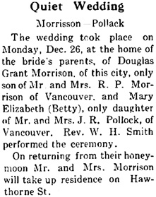 Coquitlam Herald, Port Coquitlam, British Columbia, volume 52, number 10, December 29, 1938, page 1, column 2; http://www.pocoheritage.org/pdf/newspapers/2010-5-315.pdf.