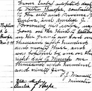 Ancestry.com. Quebec, Canada, Vital and Church Records (Drouin Collection), 1621-1968 [database on-line]. Provo, UT, USA: Ancestry.com Operations, Inc., 2008. Original data: Gabriel Drouin, comp. Drouin Collection. Montreal, Quebec, Canada: Institut Généalogique Drouin. Name: F L Sharpe [Frances Isabel Sharpe]; Event: Baptême (Baptism); Baptism Year: 1895; Baptism Location: Quebec (Quebec City), Québec (Quebec); Religion: Methodist; Place of Worship or Institution: Wesleyan Methodist Church.